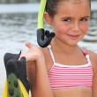 Portrait of a little girl at the beach — Stock Photo #9217440