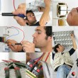 Photo-montage of an electrician at work — Stock Photo #9218411