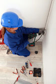Weibliche elektriker — Stockfoto