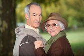 Seniors outdoors — Stock Photo