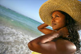 Woman in a straw hat — Stock Photo