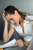 Portrait of a young woman upset — Stock Photo