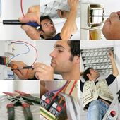 Photo-montage of an electrician at work — Stock Photo