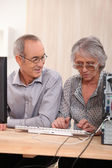 Elderly couple learning computer skills — Stock Photo