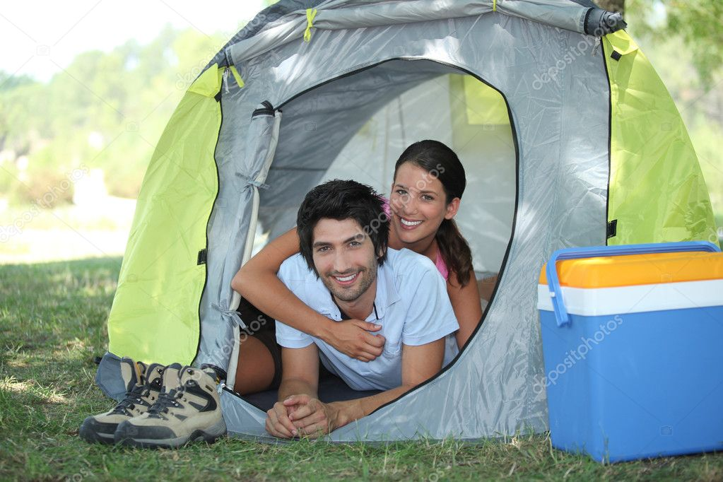 Portrait of a couple in a tent — Stock Photo #9212427