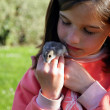 Foto Stock: Young girl holding rodent