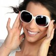 Young woman in oversized sunglasses — Stockfoto