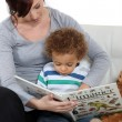 Stock Photo: Mother and son reading book
