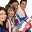 Group of French football supporters — Stock Photo