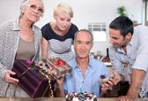 Birthday party for father — Stock Photo