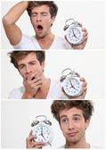 Collage of a sleeping man waking up — Stock Photo