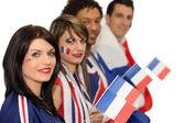 группа сторонников французского футбола — Стоковое фото