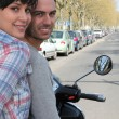 Stock Photo: Couple on a motorcycle