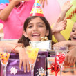 Little girl at birthday party — Stock Photo