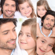 Portraits of a young man and a little girl — Stock Photo