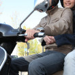Young couple with trendy scooter — Stock Photo