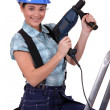 Tradeswomholding power tool — Stockfoto #9234242