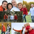 Family having a walk in the countryside — Stock Photo