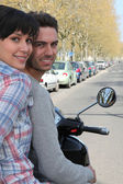 Couple on a motorcycle — Stock Photo