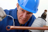 Close-up of blue collar — Stock Photo