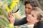 Mother and daughter examining a sunflower through a magnifying glass — Stock Photo