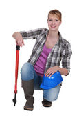 Blond manual worker with cutters — Stock Photo