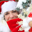 Stock Photo: Womdressed in SantClaus outfit