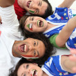 Animated group of Italian supporters — Stock Photo