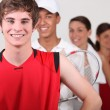 A row of athletes - Stock Photo