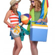 Stock Photo: Girls equipped for the beach