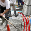 Building cement foundations - Stock Photo
