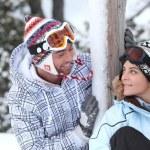 Young ski couple — Stock Photo