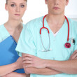 Two hospital workers — Stock Photo