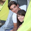 Teens in tent — Stock Photo