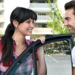 Stock Photo: Smiling couple going for ride