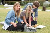 Teenagers sitting on grass — Stock Photo