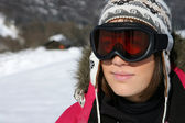 Woman in ski goggles — Photo