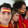 Two Spanish couples gathered to watch the football — Stock Photo #9290172