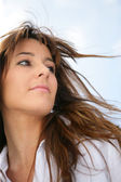 Woman's hair blowing in the breeze — Stock Photo