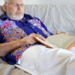 Old mhaving nap on sofa — Stock Photo #9300233