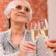 Woman toasting in restaurant — Stock Photo #9300974