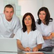 Three clinic workers — Stock Photo