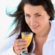 Woman drinking juice — Stock Photo #9302341