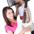 Girl and boy in a music band — Stock Photo #9305483