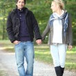 Stock Photo: Couple walking in park hand in hand