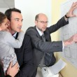 Architect with a young family — Stock Photo