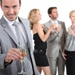 Man with champagne — Stock Photo