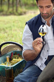 Vintner with glass in the field — Stock Photo