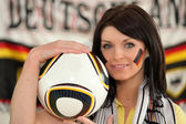 Woman supporter of German soccer team — Stock Photo
