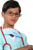 Boy dressed as doctor — Stock Photo